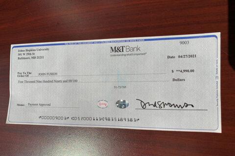 A photo of the Fake Check sent to Montgomery County Sheriff John Fuson.