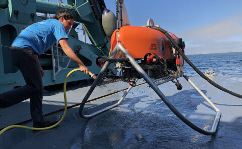 The Orpheus submersible robot is being developed by Woods Hole Oceanographic Institute and JPL to explore the deep ocean autonomously. Orpheus uses vision-based navigation that works in a similar way to how the Ingenuity Mars Helicopter navigates during flight. (NASA/JPL-Caltech)