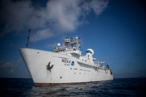 The Orpheus technology demonstration will be carried out aboard the NOAA ship Okeanos Explorer. After departing from Florida's Port Canaveral on May 14th, the two-week expedition explores the waters off the U.S. East Coast. (Art Howard/NOAA Ocean Exploration)