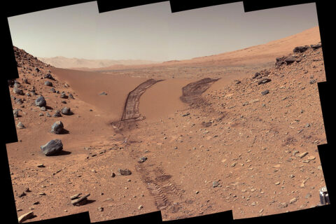 This look back at a dune that NASA's Curiosity Mars rover drove across was taken by the rover's Mast Camera (Mastcam) on February 9th, 2014 – the 538th Martian day, or sol, of Curiosity's mission. (NASA/JPL-Caltech/MSSS)