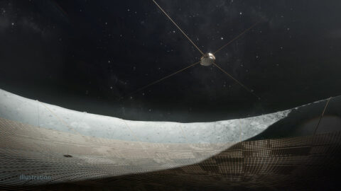 In this illustration, the receiver can be seen suspended over the dish via a system of cables anchored at the crater's rim. (Vladimir Vustyansky)