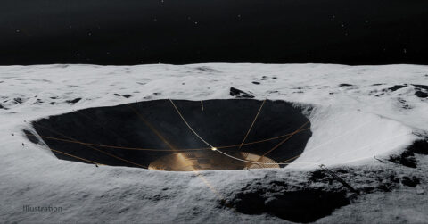 As shown in this illustration, DuAxel rovers could anchor the wire mesh from the crater's rim. (Vladimir Vustyansky)