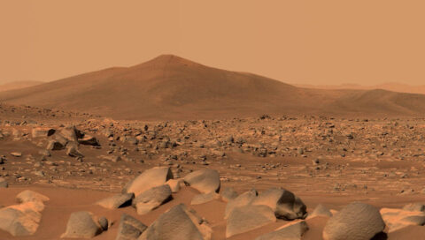 NASA's Perseverance Mars rover used its dual-camera Mastcam-Z imager to capture this image of Santa Cruz, a hill within Jezero Crater, on April 29th, 2021. (NASA/JPL-Caltech/ASU/MSSS)