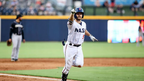 Nashville Sounds' Mitch Longo Scores on a Fielder's Choice for Third Walk-off of Series against Charlotte Knights. (Nashville Sounds)