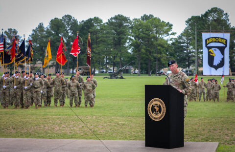 Col. Brandon Teague, outgoing commander of the 3rd Brigade Combat Team, 101st Airborne Division (Air Assault), speaks to the formation for the last time during a change of command ceremony on Fort Campbell, KY June 18th, 2021. (Staff Sgt. Michael Eaddy)
