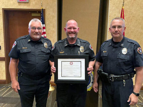 Austin Peay State University Police Department Chief Sammie Williams, Lt. Chris Jones and TACP President Troy Lane. (APSU)