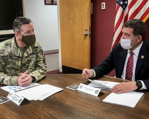 Blanchfield Army Community Hospital Commander Col. Patrick T. Birchfield updated U.S. Congressman Mark Green, of Tennessee's 7th Congressional District this past April on the hospital's COVID-19 response mission. The congressman was one of a number of distinguished visitors Birchfield welcomed during his time in command of the hospital. (U.S. Army)