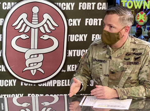 Blanchfield Army Community Hospital Commander Col. Patrick T. Birchfield joined 101st Airborne Division (Air Assault) and Fort Campbell leaders in a series of 29 virtual town halls on Facebook throughout the COVID-19 pandemic in order to share the latest information and address questions from the community. (U.S. Army)