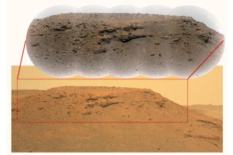 Two Views of Delta Scarp. (RMI: NASA/JPL-Caltech/LANL/CNES/CNRS/ASU/MSSSMastcam-Z)