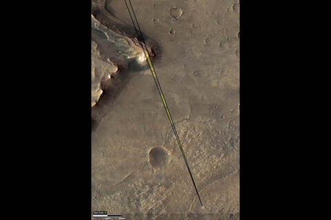 This annotated image of Mars' Jezero Crater depicts the location of NASA's Perseverance rover (yellow dot) and the field of view of its Remote Microscopic Imager (RMI) camera when it took a series of images of the Delta Scarp on March 17, 2021. (NASA/JPL-Caltech/University of Arizona)