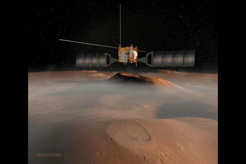 ESA's (the European Space Agency's) Mars Express flies over the Red Planet in this illustration. NASA's Jet Propulsion Laboratory supplied the receiver for the mission's Mars Advanced Radar for Subsurface and Ionospheric Sounding (MARSIS) instrument. (ESA/NASA/JPL-Caltech)
