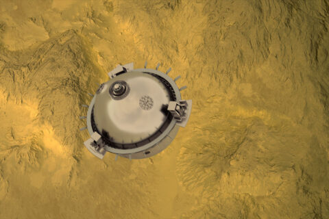 DAVINCI+ will send a meter-diameter probe to brave the high temperatures and pressures near Venus' surface to explore the atmosphere from above the clouds to near the surface of a terrain that may have been a past a continent. (NASA GSFC visualization by CI Labs Michael Lentz and others)
