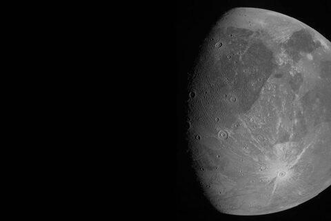 This image of Ganymede was obtained by the JunoCam imager during Juno's June 7th, 2021, flyby of the icy moon. (NASA/JPL-Caltech/SwRI/MSSS)