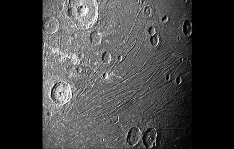 This image of the dark side of Ganymede was obtained by Juno's Stellar Reference Unit navigation camera during its June 7th, 2021, flyby of the moon. (NASA/JPL-Caltech/SwRI)
