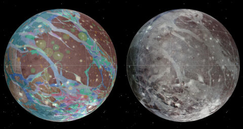 Left to right: The mosaic and geologic maps of Jupiter's moon Ganymede were assembled incorporating the best available imagery from NASA's Voyager 1 and 2 spacecraft and NASA's Galileo spacecraft. (USGS Astrogeology Science Center/Wheaton/NASA/JPL-Caltech)