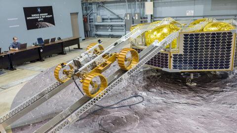 NASA's Volatiles Investigating Polar Exploration (VIPER) Rover demonstrates driving off the lander to the moon's surface using ramps. (NASA/Johnson Space Center/James Blair)