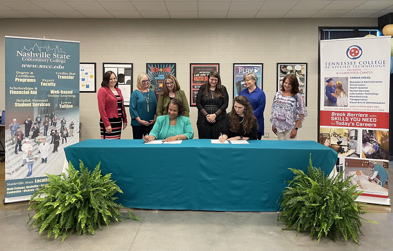 (Front row, from left): Dr. Shanna L. Jackson, Nashville State Community College president, and Dr. Arrita Summers, TCAT Dickson-Clarksville president; (Back row, from left) Dr. Carol Rothstein, vice president of Academic Affairs at Nashville State; Dr. Patricia Armstrong, dean of English, Humanities and Creative Technologies at Nashville State; Telaina Wrigley, Nashville State Clarksville campus coordinator; Victoria Dabalos, who will be a graduating from the TCAT Digital Graphic Design program in August and is interested in attending Nashville State; Kathleen Fosbinder Smith, TCAT Dickson-Clarksville campus Digital Graphic Design instructor; and Deanna Griffin, TCAT Dickson-Clarksville campus coordinator.