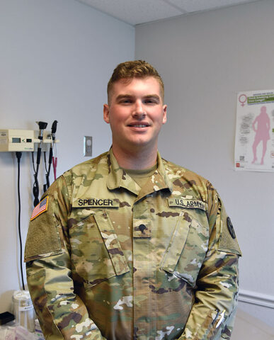Spc. Anthony Spencer with the Tennessee National Guard poses for a photograph at the Trousdale County Health Department on June 9th. (Lt. Col. Darrin Haas, Tennessee National Guard)
