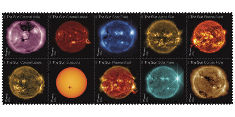 The U.S. Postal Service issued a set of stamps highlighting views of the Sun from NASA's Solar Dynamics Observatory on June 18th, 2021. (U.S. Postal Service)