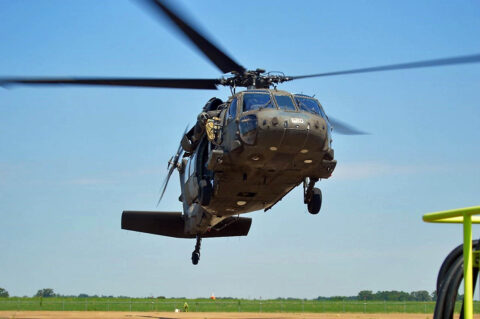 A Tennessee Army National Guard UH-60 Blackhawk assigned to the 1/230th Assault Helicopter Battalion in Jackson prepares to take flight on June 18, 2021. The 1/230th soldiers transported employers from various companies to Milan's Volunteer Training Site during an Employer Support of the Guard and Reserve Boss Lift. (Sgt. Finis L. Dailey, III)