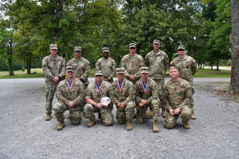 Staff Sgt. Sean Hart (center, front) poses with members of the 117th Regimental Training Institute, June 27th, after competing in the Tennessee National Guard's annual TAG Match. The TAG Match is an annual marksmanship competition and training event that is hosted by the Tennessee Combat Marksmanship Program. (Sgt. 1st Class Timothy Cordeiro)