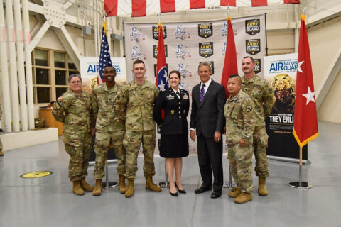 Members of the Tennessee National Guard Education and Incentives Office pose with Governor Bill Lee, May 17th, after he signed an amendment to the Tennessee STRONG Act, at Berry Field Air Force Base, in Nashville.  (Staff Sgt. Timothy Cordeiro)
