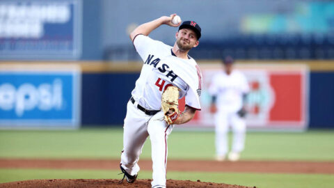 Nashville Sounds' Alec Bettinger Matches a Career-High with 12 Strikeouts in Homestand Opener against Louisville Bats. (Nashville Sounds)