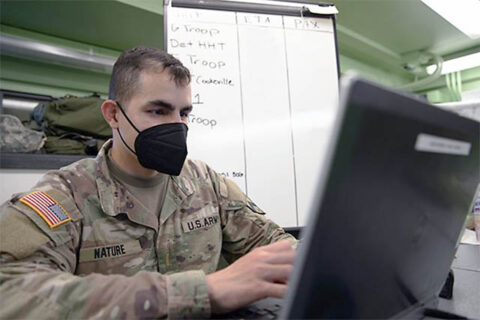 2nd Lt. Axel Nature, platoon leader for the 105th Personnel Company, 230th Sustainment Brigade, leads support operations for incoming Soldiers at the 278th Armored Cavalry Regiment's eXplorable Combat Training Exercise in Fort Hood, Texas, from June to August 2021. (Pfc. Everett Babbitt)
