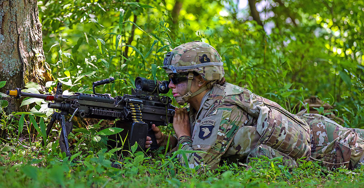 A Soldier assigned to the Route Clearing Platoon, Bravo Company, 326th Engineer Battalion, 1st Brigade Combat Team, 101st Airborne Division (Air Assault), pulls security during an Emergency Deployment Readiness Exercise July 22, 2021, at Fort Campbell, KY. The EDRE involved tasks such as conducting reconnaissance, cold load operations and detonating brazier charges after constructing them. (Spc. Jacob Wachob, 40th Public Affairs Detachment)