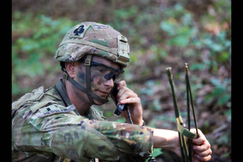 A Soldier assigned to the Route Clearing Platoon, Bravo Company, 326th Engineer Battalion, 1st Brigade Combat Team, 101st Airborne Division (Air Assault), operates a radio security during an Emergency Deployment Readiness Exercise July 22, 2021, at Fort Campbell, KY. (Spc. Jacob Wachob, 40th Public Affairs Detachment)