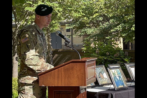 Fort Campbell Soldier Recovery Unit Commander Lt. Col. Joseph Reagan welcomes Gold Star families and other guests to a breakfast and memorial garden rededication ceremony at the unit, June 22nd. During the breakfast SRU staff and families reconnect, share their stories and open their hearts to new members who have experienced the loss of a Soldier. (U.S. Army photo by Maria Yager)