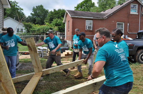 Volunteers help assemble a ramp for a future Habitat homeowner as part of the Veterans Build initiative in Clarksville-Montgomery County.
