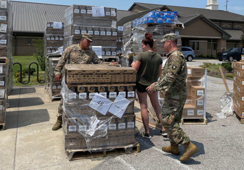 Chaplain Carlos Tillmanschoffer prepping boxes for donation to other Chaplain ministries of the donated over 440,000 k-cups of coffee, hot cocoa, and tea to be distributed to all Soldier ministries on post from Holy Joe's Café'. (Spc. Jordy Harris, 101st Airborne Division (Air Assault))