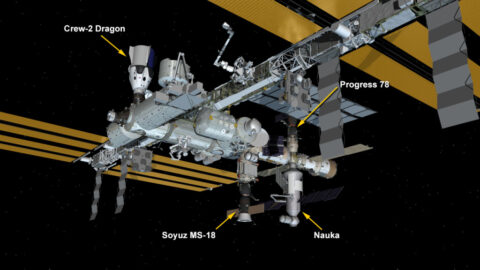 International Space Station Configuration. Three spaceships are docked at the space station including the SpaceX Crew Dragon and Russia's Soyuz MS-18 crew ship and ISS Progress 78 resupply ship. The new Nauka Multipurpose Logistics Module (MLM) is now attached to the Zvezda service module's Earth-facing port. (NASA)