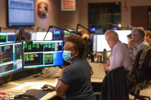 Nzinga Tull, Hubble systems anomaly response manager at NASA's Goddard Space Flight Center in Greenbelt, Maryland, works in the control room July 15 to restore Hubble to full science operations. (NASA GSFC/Rebecca Roth)