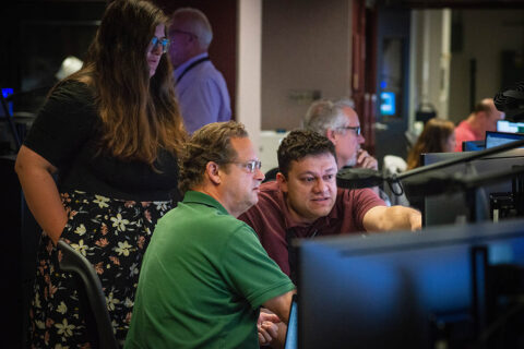 Members of the Hubble operations team work in the control room July 15 to restore Hubble to science operations. (NASA GSFC/Rebecca Roth)