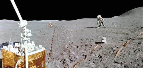 This mini-panorama combines two photographs taken by Apollo 15 lunar module pilot Jim Irwin, from the Apollo Lunar Surface Experiments Package (ALSEP) site, at the end of the second Apollo 15 moonwalk on August 1, 1971. Scott is leaning to his right and is putting down the Apollo Lunar Surface drill used to take core samples and set up a heat flow experiment. The Solar Wind Spectrometer is in the right foreground. (Erik van Meijgaarden)