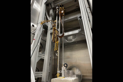 The Regolith and Ice Drill for Exploring New Terrain (TRIDENT) Engineering Development Unit performs recent testing at Honeybee Robotics. TRIDENT is a drill on the Polar Resources Ice Mining Experiment-1 (PRIME-1), the first in-situ resource utilization demonstration on the Moon, scheduled to take flight in late 2022. (Honeybee Robotics)