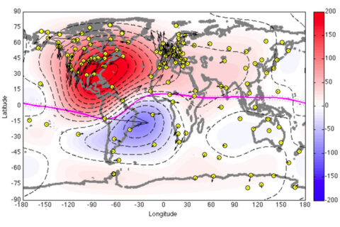 A map of the ionospheric currents at the time of Dynamo 1's launch on July 4, 2013. Currents – whose intensity is marked by red and blue coloring – travel in opposite directions on either side of the magnetic equator, marked with a pink line. The yellow dots are magnetometer readings from the ground. (NASA/JAXA/R. Pfaff et al)