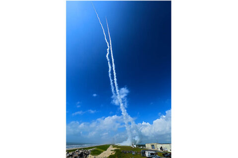 A picture of the rocket plumes shortly after the launch of both Dynamo rockets from Wallops Flight Facility on July 4, 2013. (NASA/JAXA/R. Pfaff et al/Ken Kramer)