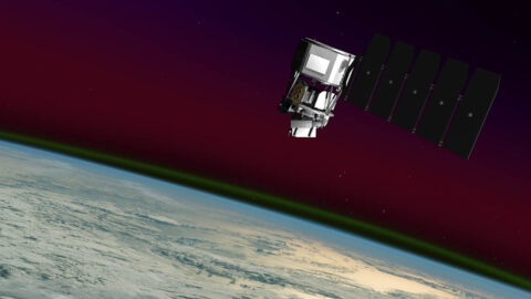 Illustration of NASA's Ionospheric Connection Explorer, or ICON. ICON explores Earth's upper atmosphere and ionosphere, a region influenced by both terrestrial weather and changes in near-Earth space. (NASA's Goddard Space Flight Center Conceptual Image Lab)