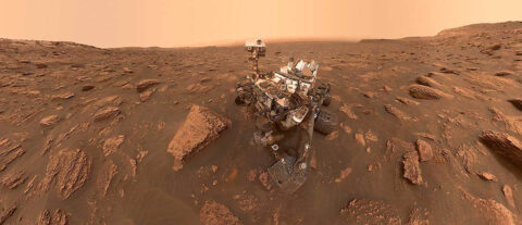 A self-portrait of NASA's Curiosity rover taken on Sol 2082 (June 15th, 2018). A Martian dust storm has reduced sunlight and visibility at the rover's location in Gale Crater. (NASA)