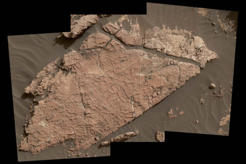 """The network of cracks in this Martian rock slab called """"Old Soaker"""" may have formed from the drying of a mud layer more than 3 billion years ago. (NASA/JPL-Caltech/MSSS)"""