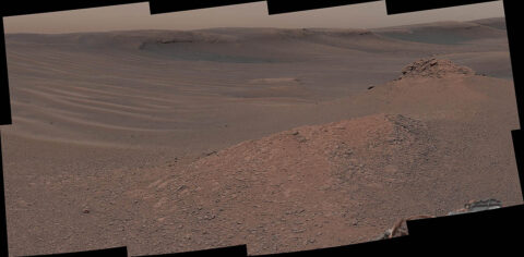 """The Mast Camera (Mastcam) on NASA's Curiosity Mars rover captured this mosaic as it explored the """"clay-bearing unit"""" on February 3rd, 2019 (Sol 2309). This landscape includes the rocky landmark nicknamed """"Knockfarril Hill"""" (center right) and the edge of Vera Rubin Ridge, which runs along the top of the scene. (NASA/JPL-Caltech/MSSS)"""