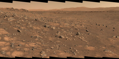 """A light-colored """"paver stone"""" like the ones seen in this mosaic will be the likely target for first sampling by the Perseverance rover. The image was taken on July 8, 2021, in the """"Cratered Floor Fractured Rough"""" geologic unit at Jezero Crater. (NASA/JPL-Caltech/ASU/MSSS)"""