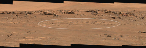 """This annotated image depicts the area within the """"Cratered Floor Fractured Rough"""" geologic unit that Perseverance rover will hunt for a suitable first sample target. (NASA/JPL-Caltech/ASU/MSSS)"""