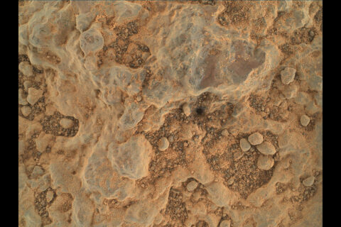 """NASA's Perseverance Mars rover took this close-up of a rock target nicknamed """"Foux"""" using its WATSON camera on the end of the rover's robotic arm. The image was taken July 11, 2021, the 139th Martian day, or sol, of the mission. (NASA/JPL-Caltech/MSSS)"""