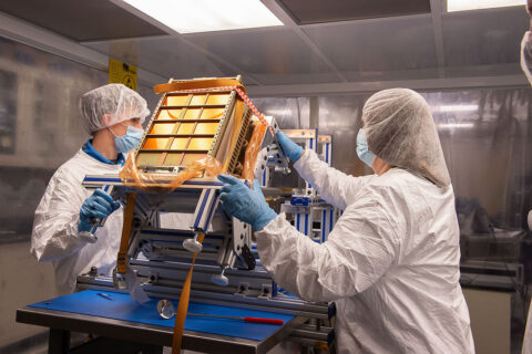 Engineers prepare NEA Scout for integration and shipping at NASA's Marshall Space Flight Center in Huntsville, Alabama. (NASA)