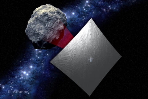 Illustration of NASA's NEA Scout with the solar sail deployed as it flies by its asteroid destination. (NASA)