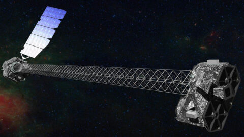 Illustration of the NuSTAR spacecraft, which has a 30-foot (10 meter) mast that separate the optics modules (right) from the detectors in the focal plane (left). This separation is necessary for the method used to detect X-rays. (NASA/JPL-Caltech)